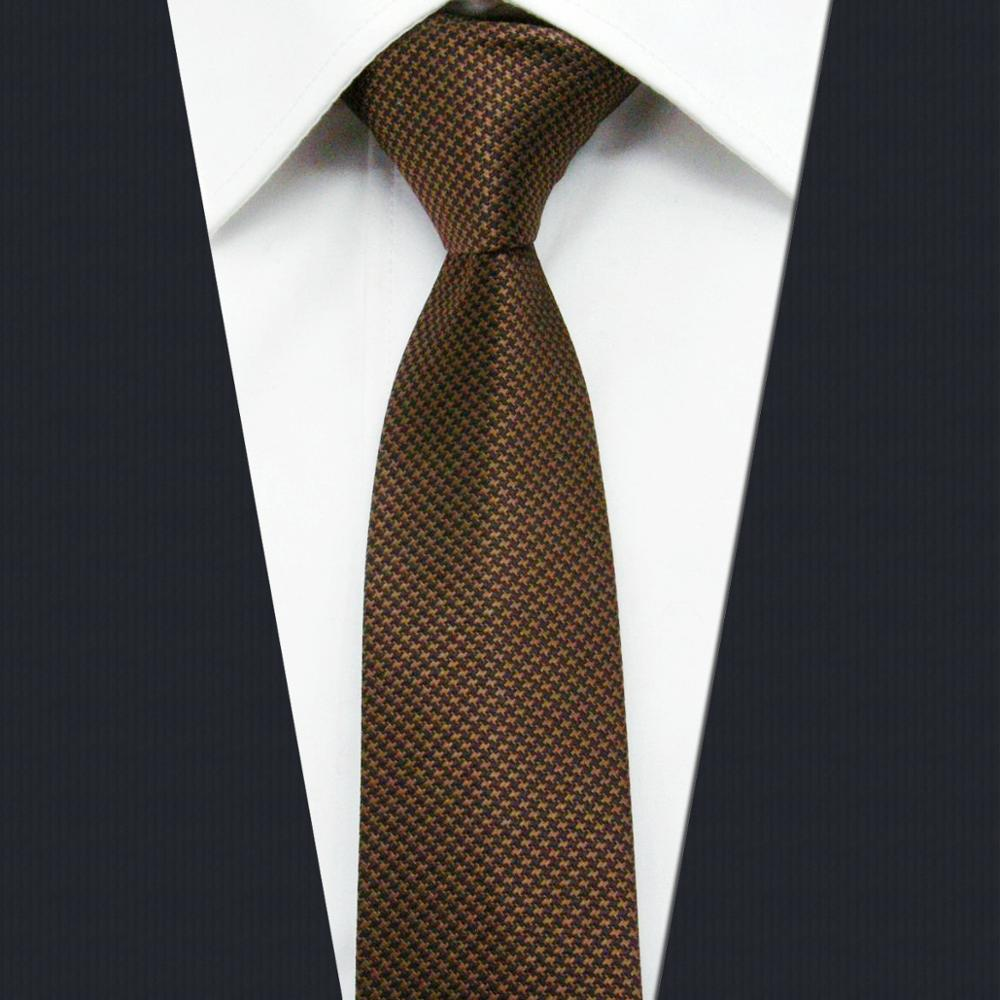 UZ27 Solid Brown Mens Skinny Tie Fashion Slim Necktie Classic 6cm 2.35