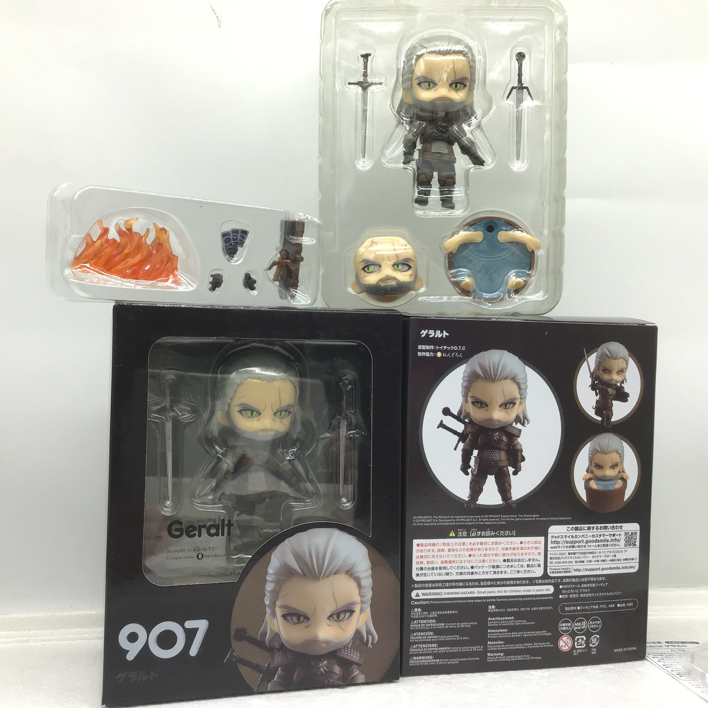 """Nendoroid The Witcher 3 Wild Hun Geralt of Rivia PVC Figure Toy 4/"""" New in Box"""