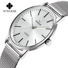 Wwoor повседневные Простые мужские наручные часы модные серебристые