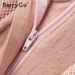 Image 5 - Berrygoカジュアルピンク女性ハイウエスト中空ボタン綿 2020 春夏パーティー女性ショートセクシーショーツ