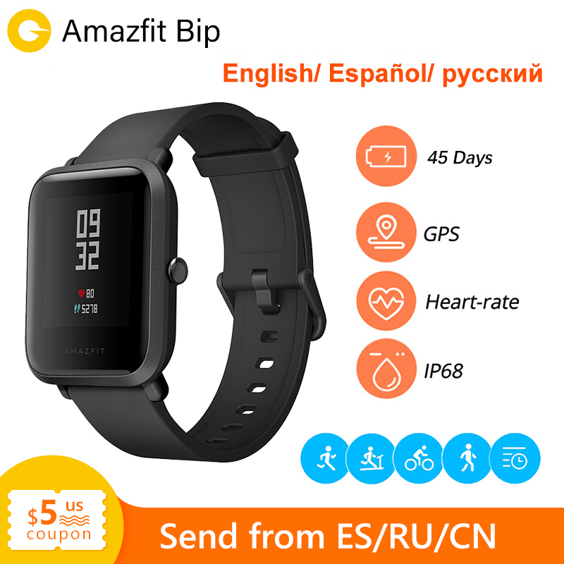 Huami Amazfit Bip Amazfit montre intelligente GPS Bluetooth moniteur de fréquence cardiaque 45 jours d'autonomie IP68 étanche hommes femmes Smartatch
