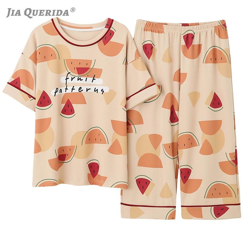 Printing Pajamas Set for Women Ladies Capris Sleepwear Round Neck Fruits Print Korean Kawaii Chic Style Women's 100% Cotton