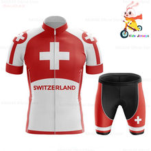 Switzerland 2020 Boy Cycling Jersey Short Sleeve Summer Breathable 3D Cushion Shorts Bicycle Clothes Kids Roupa Ciclismo Maillot(China)