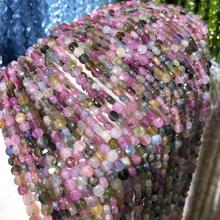 цена Natural Stone Section Face Tourmalin Beads 4mm Small Round Loose Stone Bead for Jewelry Making DIY Bracelet Necklace Strand 15'' онлайн в 2017 году