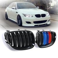 2pcs Auto Car Front Kidney Grill Grilles M color Car Accessories For BMW E60 E61 2003 2010 Car Styling