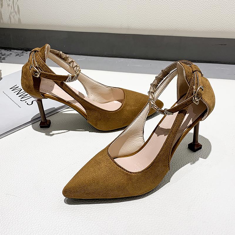 Wedding Party High Heels New Women\'s Shoes Fashion Pointed Ankle Buckle Stiletto High Heel Sandals Elegant Women Pumps U28-26
