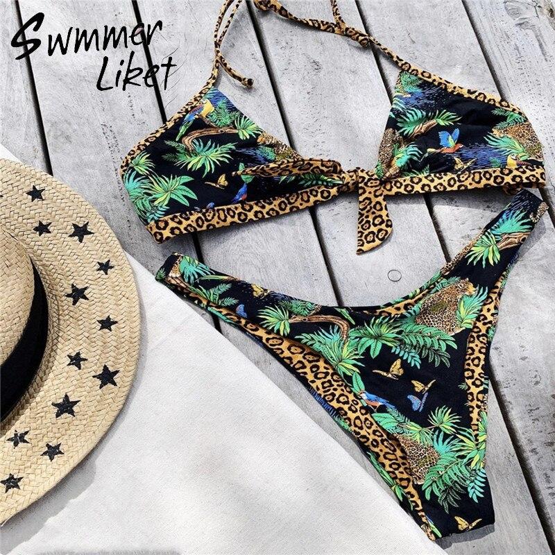 Sexy Ruffle Bikini Set 2020 Triangle Push Up Swimsuit Female Print Swimwear Women Bathers Bathing Suit Summer Swimming Suit New