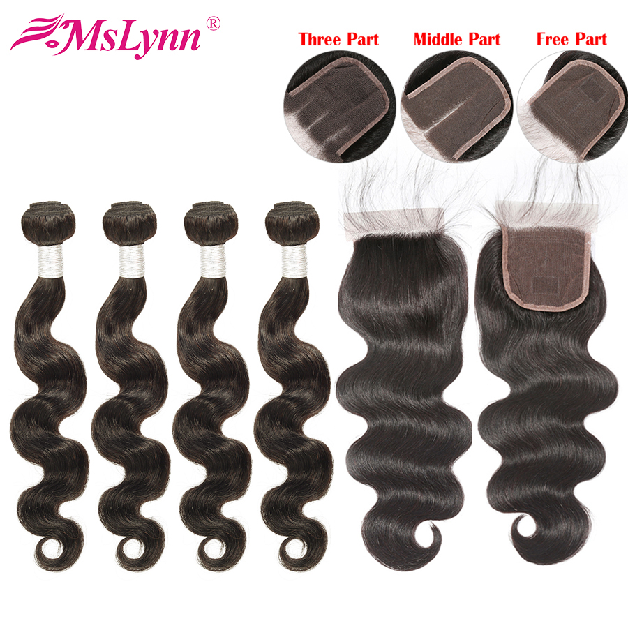Body Wave Bundles With Closure Peruvian Hair Bundles With Closure Human Hair Bundles With Closure Mslynn Remy Hair 70g Bundles