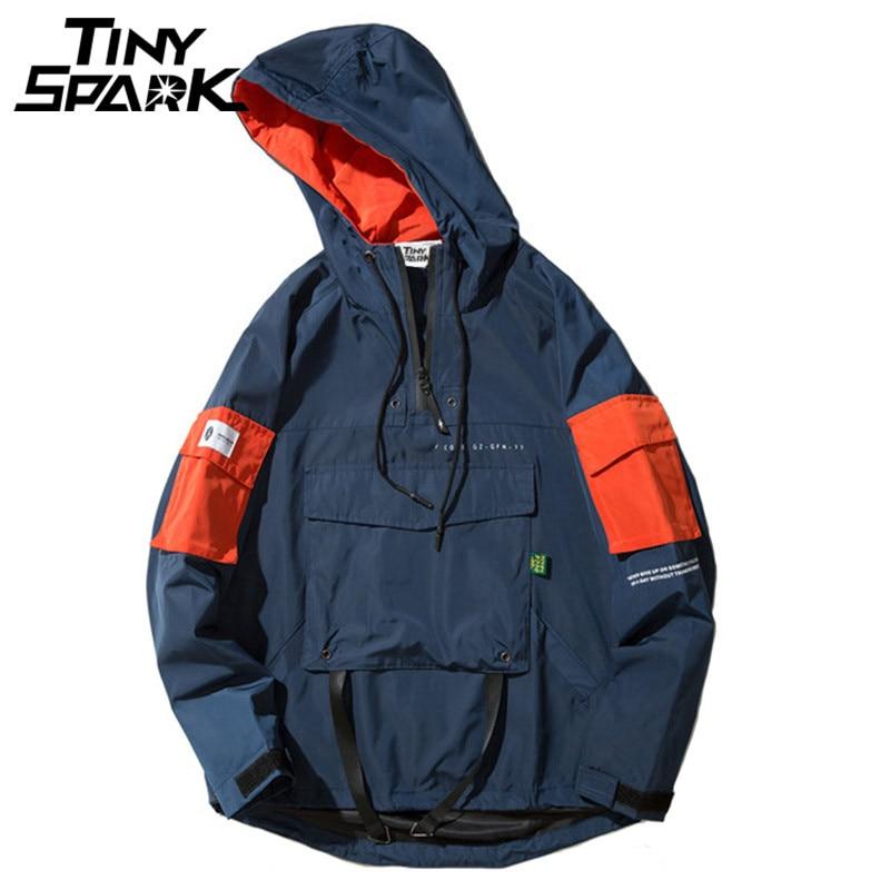 Half Zipper Pullover Jacket Men New 2018 Autumn Hip Hop Hooded Jacket Front Pocket Casual Windbreaker Hoodie Streetwear Harajuku