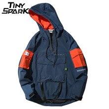 Half Zipper Pullover Jacket Men New 2020 Autumn Hip Hop Hooded Jacket Front Pocket Casual Windbreaker Hoodie Streetwear Harajuku
