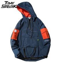 Jersey con media cremallera para hombre, chaqueta con capucha de estilo Hip Hop para otoño 2020, sudadera cortavientos informal con bolsillo frontal, ropa de calle Harajuku