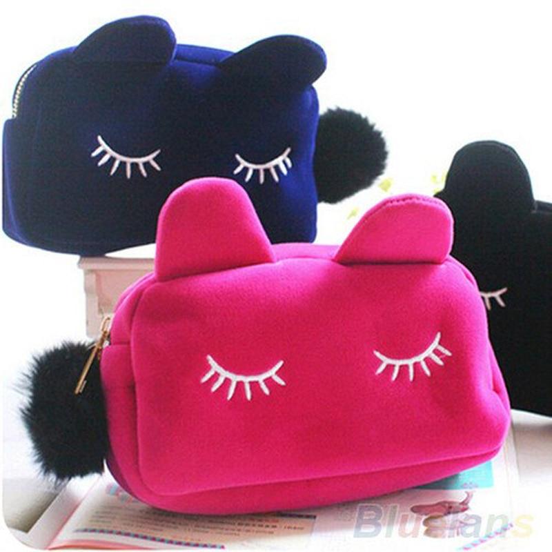 Cute Cartoon Cat School Stationery Pencil Case Pen Box Cosmetic Makeup Velour Pouch Zipper Bags Portable Toilet Case