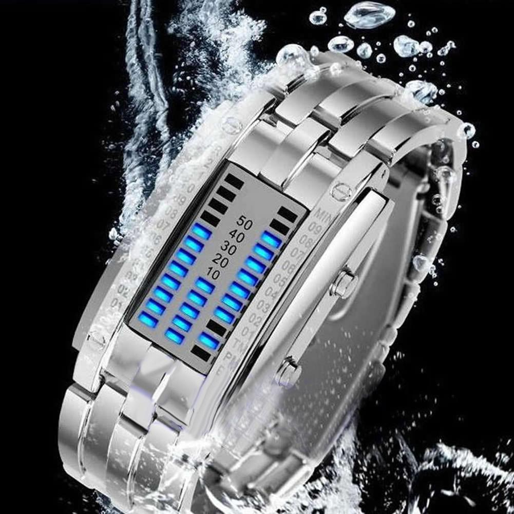 Permalink to Couple Watch Men Women Creative Stainless Steel Clock LED Date Bracelet Watch Binary Wristwatch Lover's Watches часы мужские