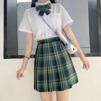 Japanese School Uniforms Plaid Skirts Girl\'s Dresses JK Suits Green Bowknot Shirt Female Sailor Costume Dress Clothes for Women