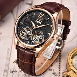 Relogio Masculino 2020 zegarek męski LIGE Casual skórzany podwójny Tourbillon mechaniczne męskie zegarki Top marka luksusowy automatyczny zegarek w Zegarki sportowe od Zegarki na