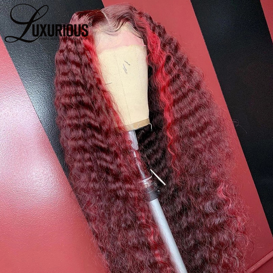 Luxurious Wig Highlight Human-Hair-Wigs Lace-Frontal Brazilian-Closure Curly 99j-Colored title=