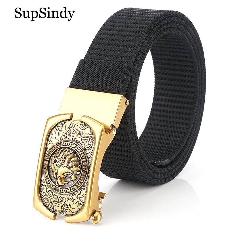 SupSindy Man's Nylon Belt Luxury Gold Lions Metal Automatic Buckle Canvas Belts For Men Fashion Jeans Waistband Black Male Strap
