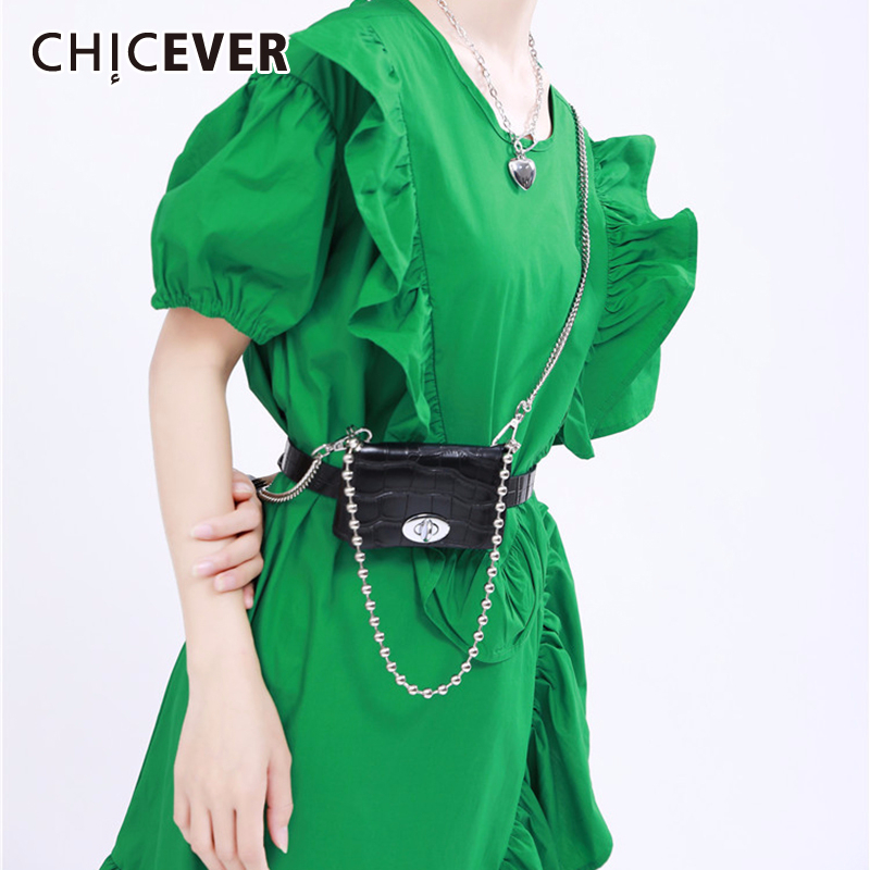 CHICEVER Korean PU Leather Women's Bag Patchwork Metal Chain Crossbody Pleated Bags Female 2020 Fashion Clothing Accessories New