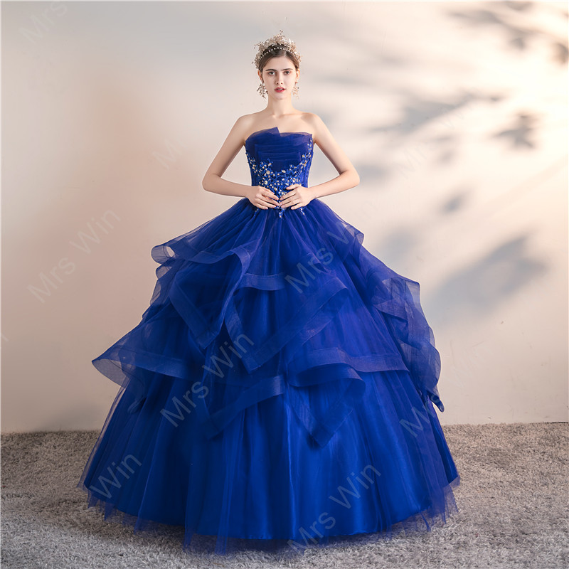 Mrs Win Bule Quinceanera Dresses 2020 Party Prom Elegant Strapless Ball Gown 6 Colors Formal Homecoming Dress Custom Size