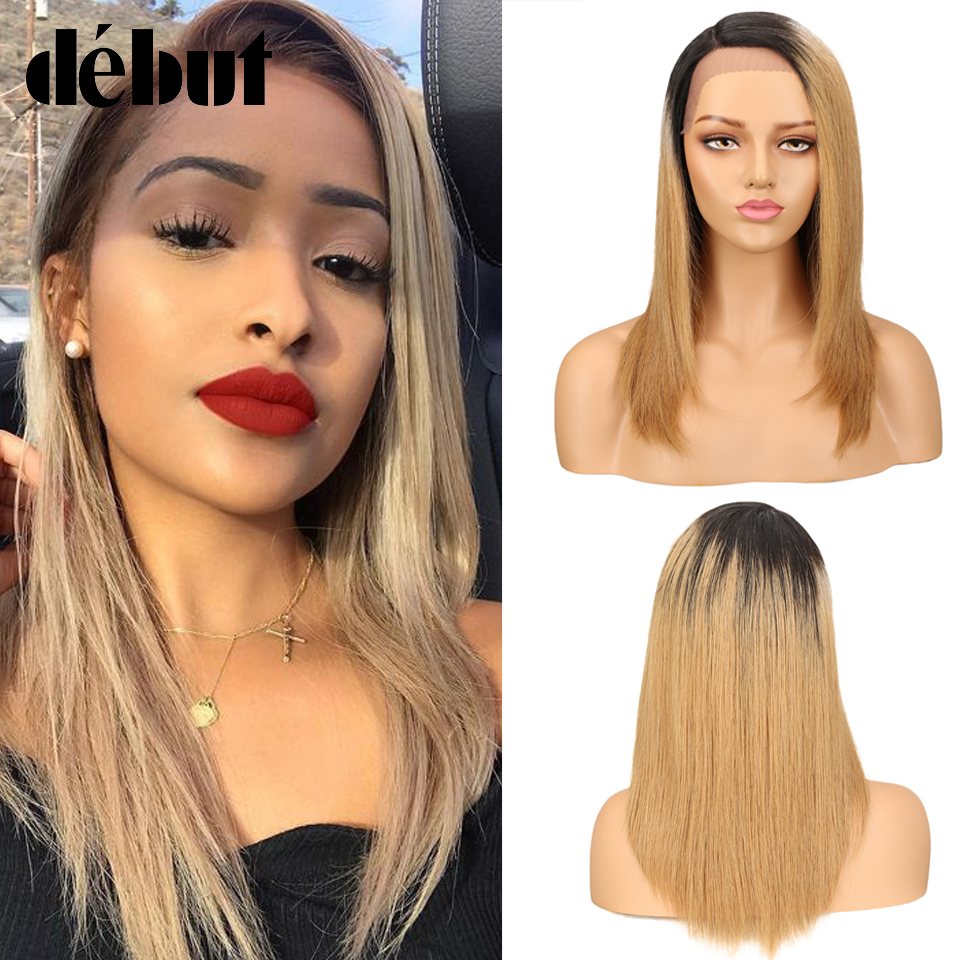 Debut Lace Wigs 100% Human Hair Straight Lace Part Human Hair Wigs For Black Women Remy Ombre Bob Lace Wig Free Shipping