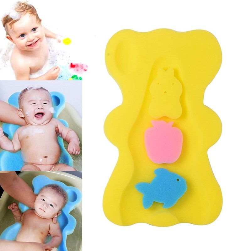 Baby Infant Soft Bath Sponge Seat Cute Bear Anti-Slip Foam Pad Mat Bod