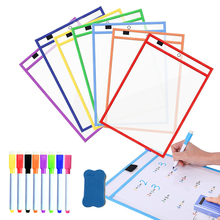 8 Pcs Reusable Transparent Dry Erase Pockets Sleeves PP File Write Wipe Drawing Whiteboard Markers Used for Teaching Supplies
