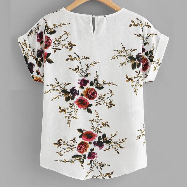 Summer Fashion Floral Print Blouse Pullover Ladies O-Neck Tee Tops Female Women's Short Sleeve Shirt Blusas Femininas Clothing 2