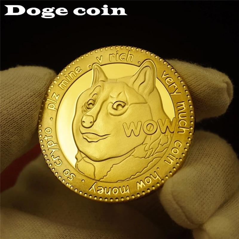 Позолоченные памятные монеты Dogecoin с изображением милой собаки коллекция на год монеты виртуальная валюта