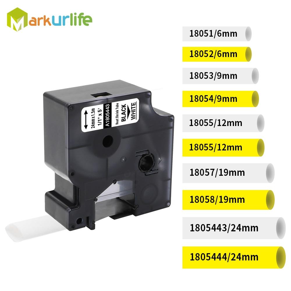 5PK For DYMO Rhino 5000//6000 Heat-Shrink Tube 18052 Industry Label Tape 6mm*1.5m