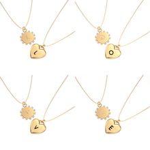 Fashion Initial Necklace Dainty Tiny Heart Dangled Name Necklace for Women Choker Neck 26 Letter Jewelry