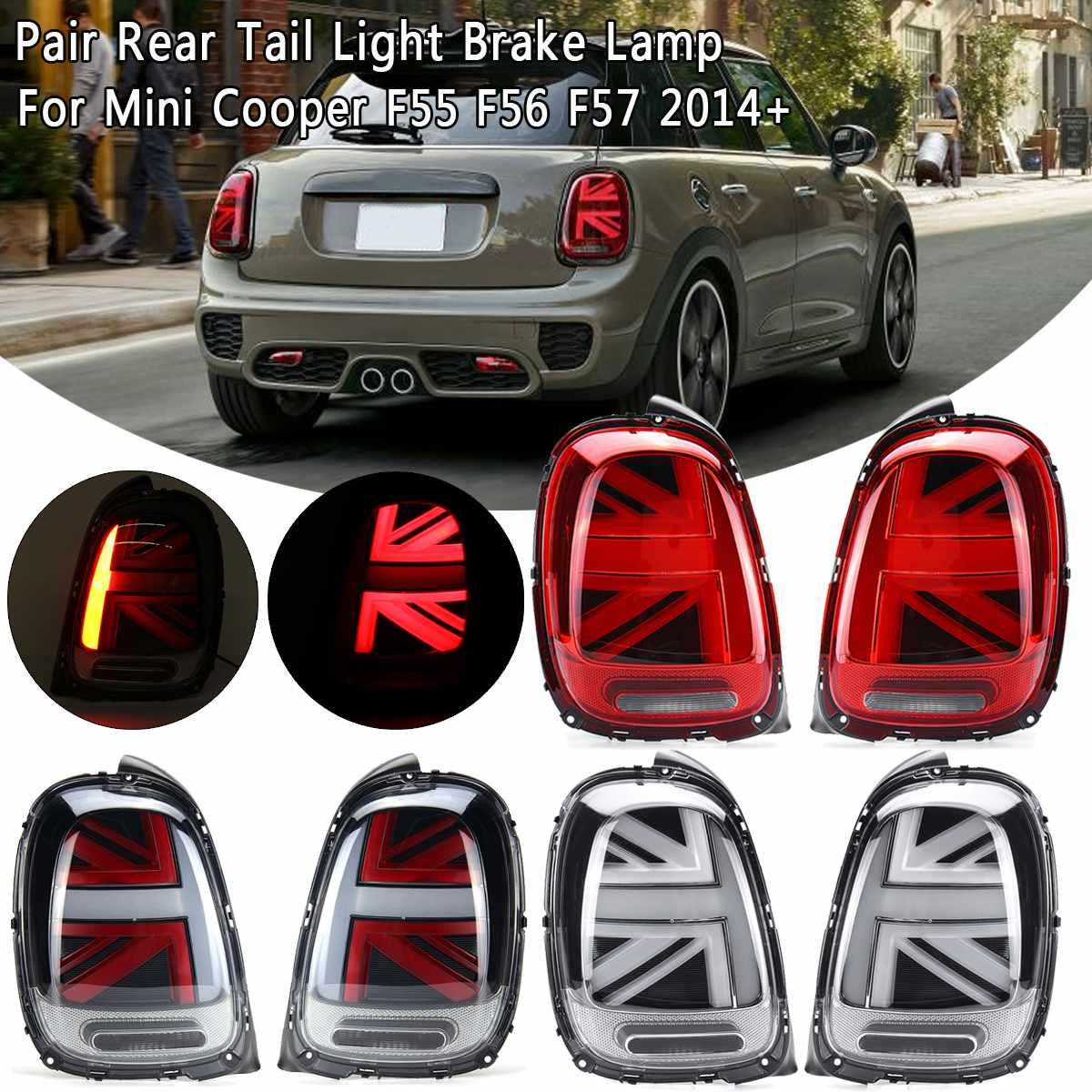 Pair Car Tail Light Universal For Mini Cooper F55 F56 F57 2014 2015 2016 2017 2018+ LED W/ Bulb Rear Reverse Lamp Tail Fog Light