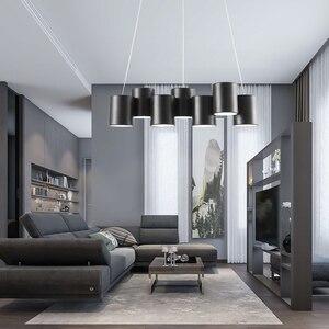 Image 2 - Artpad 35 Вт черная люстра светильник Led минималистичный геометрический светильник для столовой скандинавский пост современный потолочный подвесной светильник