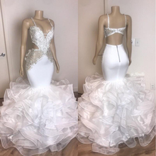 2020 White Organza Ruffles Prom Dresses With Applique Lace S