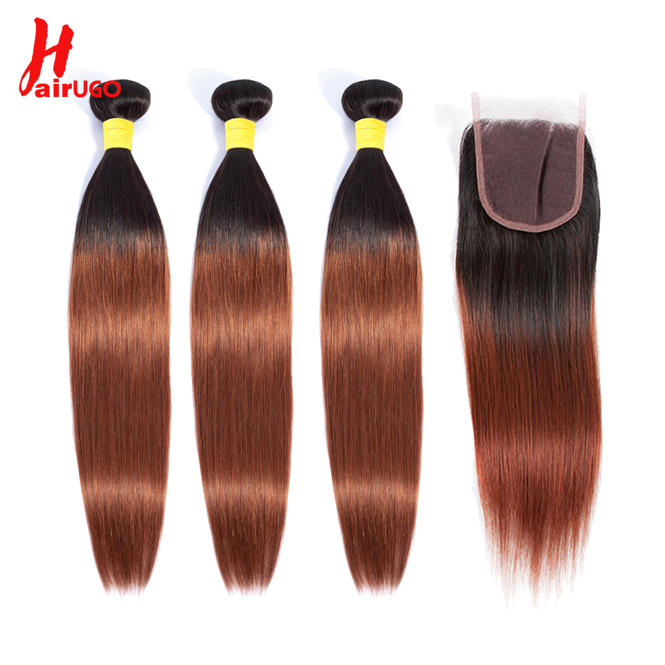 HairUGo Brazilian Hair Weave Bundles With Closure T1b/33 Color Non Remy Straight Human Hair Bundles With Closure Free Shipping
