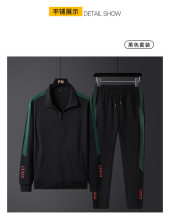 Men's top grade sports suit hoodie fashion casual wear running training two-Piece set of breathable cotton.Black, green M-4XL
