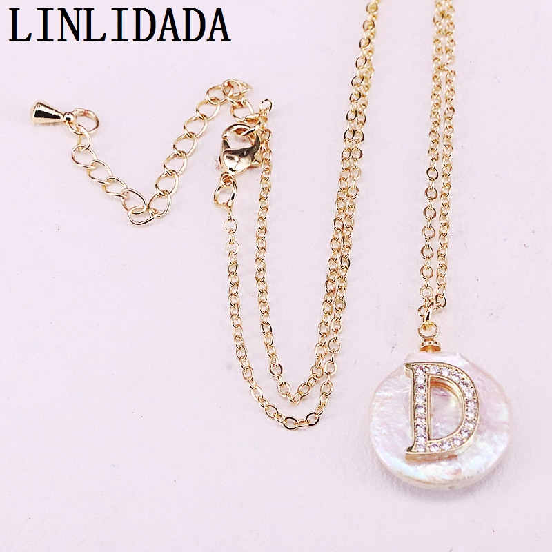 Image 2 - 12Pcs  cz micro paved gold Initial letter charm white round coin  pearl bead pendant necklace for womenChoker Necklaces
