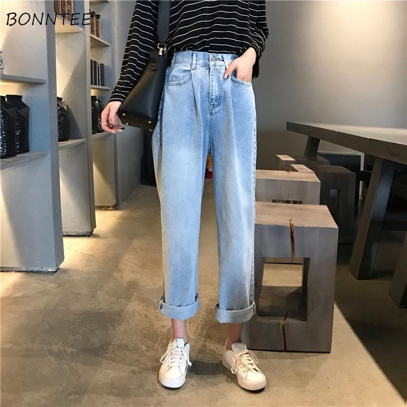Jeans Women Solid Classic Denim Vintage High Waist Straight Loose 2XL All-match Womens Trousers Fashion Chic BF Students Simple