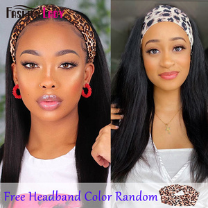 Image 2 - Fashion Lady Headband Wig Human Hair Straight Wave For Black Women 2020 Winter New Arrival Remy Hair Glueless Full Machine Wigs
