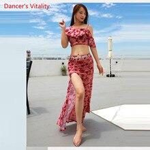 Летнее Новое поступление, одежда для выступлений, платье для танца живота, Женский комплект из 2 предметов (блузка с коротким рукавом и юбка с разрезом), розовая
