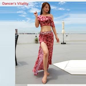 Image 1 - קיץ הגעה חדשה בגדי ביצועים בטן ריקוד שמלת נשים של 2 חתיכה להראות (קצר שרוול חולצה חצאית סדק חצאית) ורוד