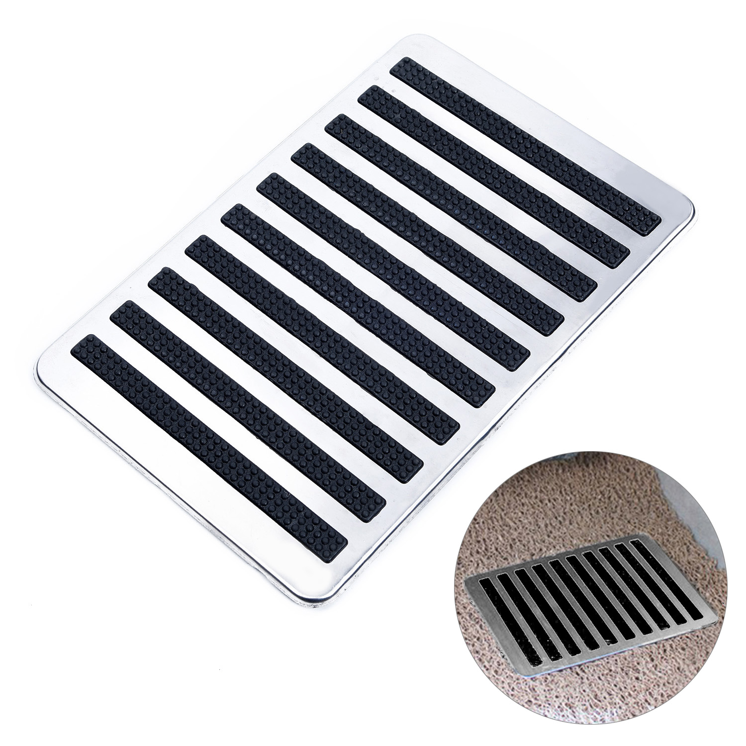 Steel Plate Carpet Stainless Universal Driver Car Side Auto Interior Floor Mat Patch Foot Heel Pedal