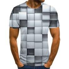 Мужская футболка с коротким рукавом повседневная клетчатая 3d