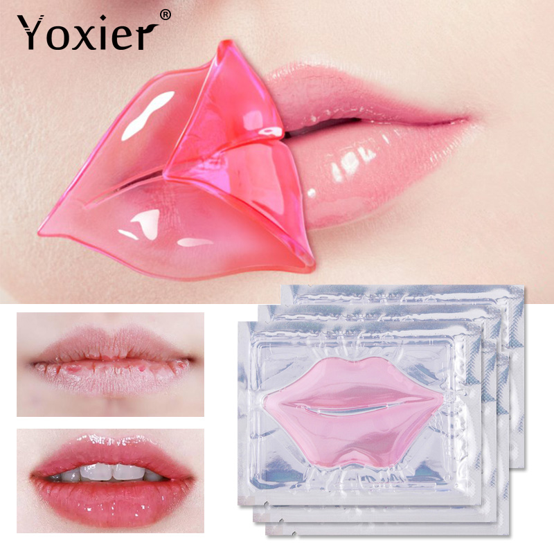 Yoxier 5pcs Pink Lip Gel Mask Ydrating Repair Remove Lines Blemishes Lighten Lip Line Collagen Mask Lip Elasticity Beauty