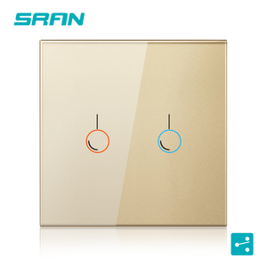 Image 4 - SRAN eu wall sensor switch, 110 240V 2000w crystal glass panel with led 2gang 2way touch switch for stairs and interrupted