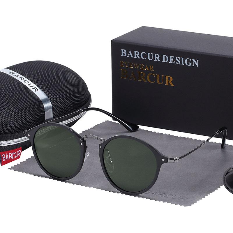 BARCUR Aluminum Vintage Sunglasses for Men Round Sunglasses Men Retro Glasses Male Famle Sun glasses retro oculos masculino 8