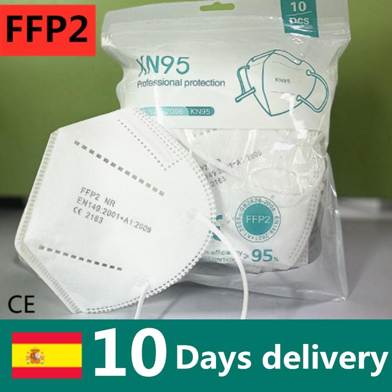 Hot! 50/100 pces ffp2 kn95 protetora rosto máscara boca pm2.5 5 camada filtro máscaras de segurança respirável mascarillas ffp2 anti poeira ffp2 Másc.    -