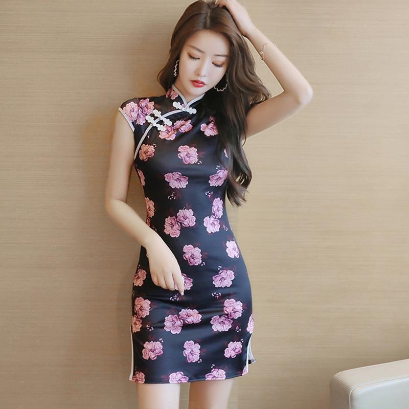 2020 chinese dress oriental traditional chinese women short dress satin dress qipao side split sexy flower printed cheongsam