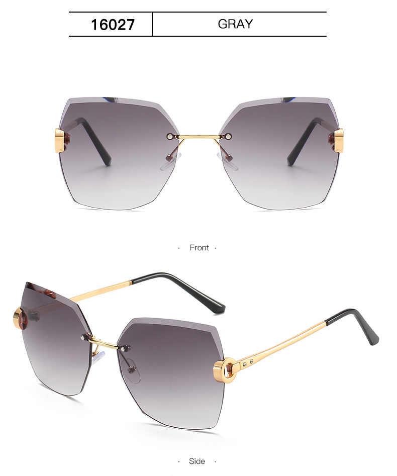 2020 Zonnebril Vrouwen Luxe Merk Designer Snijden Lens Randloze Gradiënt Retro Legering Frames Hoge Kwaliteit Eyewear Oculos De Sol