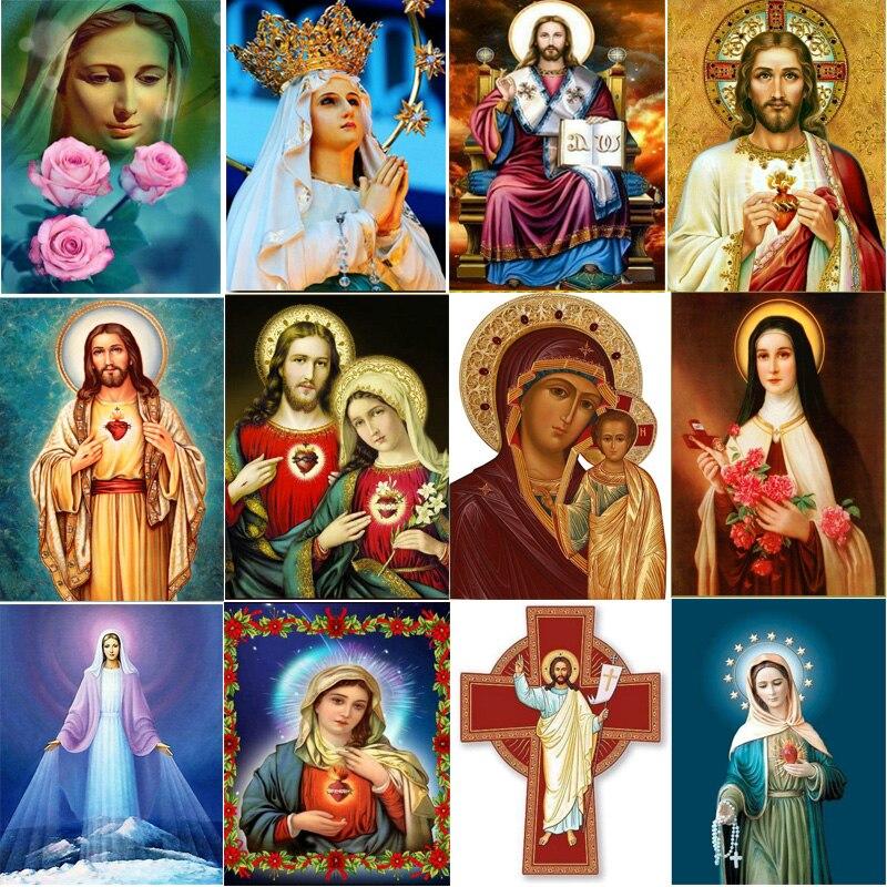 >Fezrgea 5D DIY Full Square / Round Diamond Painting Religious Jesus Diamond Cross Embroidery Resin Diamond Mosaic <font><b>Art</b></font> <font><b>Deco</b></font> Gift