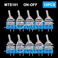 10pcs Mini toggle switch MTS-101 2P 33x13x8mm, single pole double throw ON-OFF